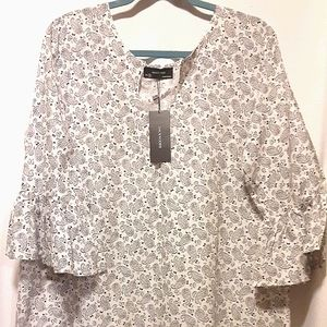 Floral Black & White Ruffle Sleeve Dress - S